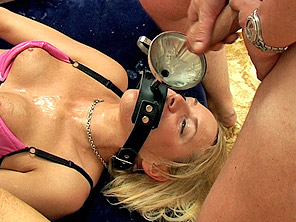 Sandie gets cum poured down her throat