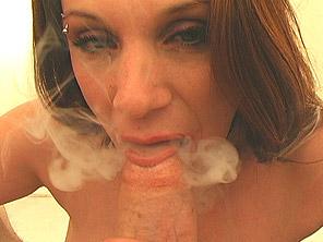 Woman smokes and sucks dick at once