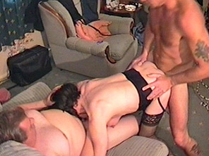 Dirty housewife with big tits gets fucked