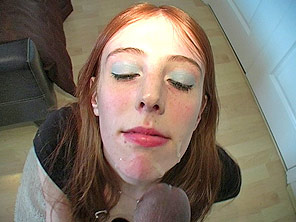Redhead shows off and gets jizzed on
